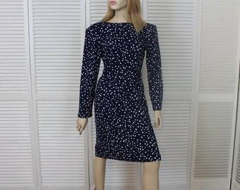 Vintage Navy Blue Polka Dot Wiggle Dress 1980s Size 5/6 Laine USA