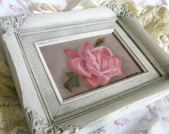 Pink Cabbage Rose Original Still Life Hand Painted Oil Painting Shabby Chic French Farmhouse Cottage Ornate Cream Distressed Vintage Frame