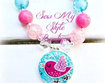 Chunky Bead Necklace Set/ Blues Pinks Birdie/Bracelet/Necklace Set