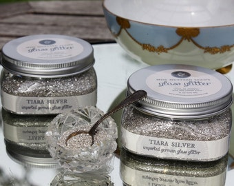 German Glass Glitter, Silver Miss Mustard Seed 4 oz Jar, Made in Gemany, Vintage Style Glitter Handmade in Small Batches