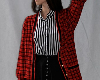 Red Prep Houndstooth Cardigan