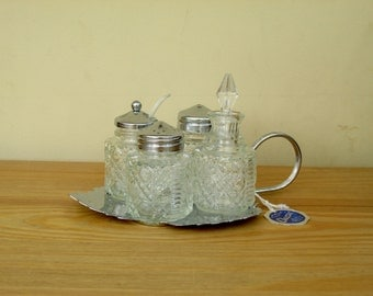 1970s Four Piece Condiment Set on Chrome Leaf Salt Pepper Shaker Mustard Set by Mayell