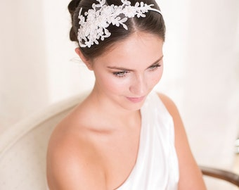 Bridal lace headband with pearls, lace headpiece