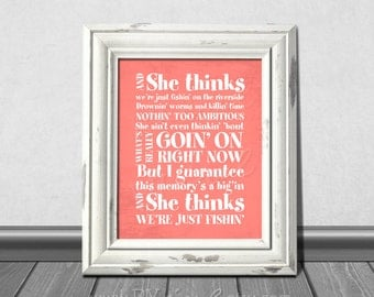 Just Fishin' Lyrics, Trace Adkins, Nursery DIY Printable.