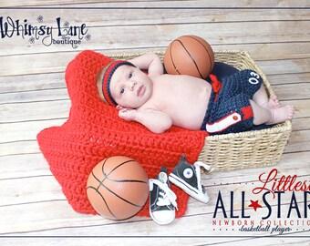 Newborn Basketball Shorts and Sweatband Set - Baby Boy-Photo Prop