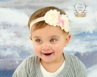Little Pink Deer Headband - Cream Elastic Chiffon with Pink Fawn - Newborn Infant Baby Toddler Girls