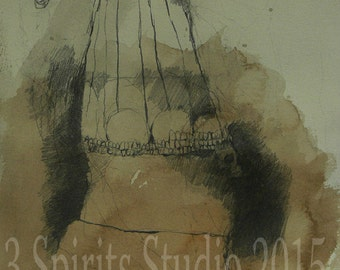 """Original Graphite contemporary  Drawing with ink and graphite on paper - """"Parched Secrets"""""""