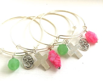 Final Sale - Bangles - Adjustable - Om or Cross Charm with Agate Nugget