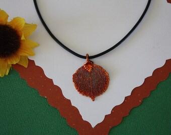 SALE Leaf Necklace, Copper Aspen Leaf, Real Aspen Leaf Necklace, Copper Leaf Pendant, SALE31