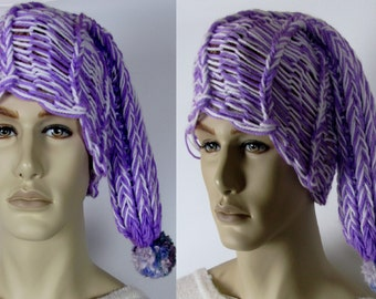 Loom knit elf/beanie hat in multitones, different colors available