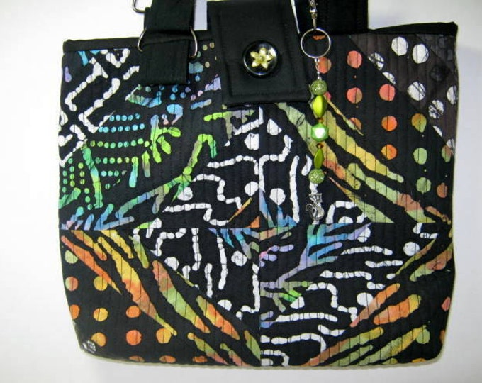 Scrappy Black Batiks Quilted Small  Knitting Crochet Craft Tote