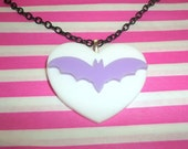 Pastel Bat Necklace, White Heart, Creepy Lilac Lavender Kawaii Jewelry Fairy Key Pastel Goth