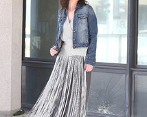 fringe dress Full length silver evening gown handwoven