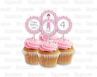 Printable DIY Pink and Grey Ballerina Theme Personalized Happy Birthday Cupcake Toppers Digitial File