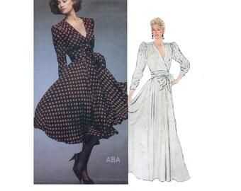 Vogue American Designer Albert Nipon 80s Sewing Pattern Wrap Style Dress Evening Gown Puff Shoulders Full Twirl Skirt Uncut Bust 34