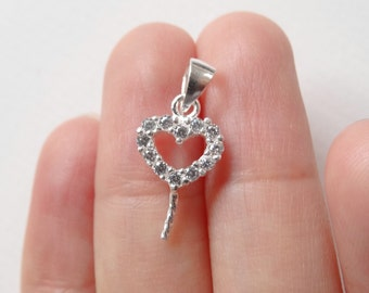 925 Sterling Silver Heart Bail with Cubic Zirconia for Half Top Drilled Beads H6426