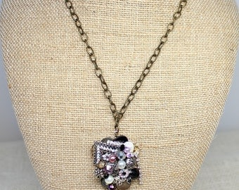Eggplant pendant necklace- Purple collage necklace- FREE SHIPPING- Christmas gift- Plum and Gold necklace- Vintage jewelry necklace