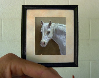 Custom Horse Portrait-Pet Memorial-Miniature Painting-Personalized Pet Portrait-Cats-Dogs-Horses-Donkey-Llama-Animals-Made to Order