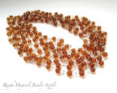 Silver Rosary Chain 4mm Caramel Amber Glass Beads 20 Inch Rosary