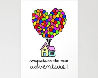 PRINTABLE: Congrats On The New Adventure - Blank 5x7 - Instant Download - Disney Pixar Congratulations