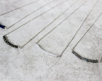 Stacked Gemstone Necklace, Bar Necklace, Sterling Silver Necklace, Dainty Necklace, Minimalist Necklace