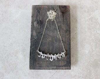 Herkimer Circle Necklace, Herkimer Diamond Necklace, Brass Pendant Necklace
