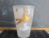 Vintage Libbey Cavalcade Glass, Frosted with Gold and White Horses Leaves