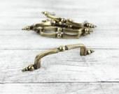 Vintage Brass Curved Drawer, Cabinet Door handle w/ ornate flush mount ends (set of 6)