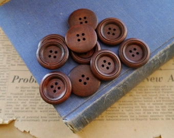 "Large 10 pcs Dark Brown Wood Buttons 30mm 1 1/8"" (WB2294)"