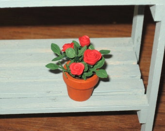 Dollhouse Miniature Potted Mini Roses Garden Accessories Plants 1/12th Scale