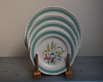 "Vintage 1950s Alfred Meakin ""Harvest Bouquet"" set of 4 plates"