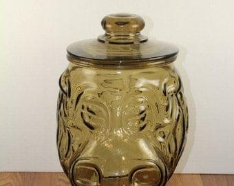 LIBBY Glass Co Hippo Cookie Jar. Smoked Glass Cookie Jar. Vintage Glass Cookie Jar. 1970s Kitchenware. 1970's Cookie Jars. Vintage Circus