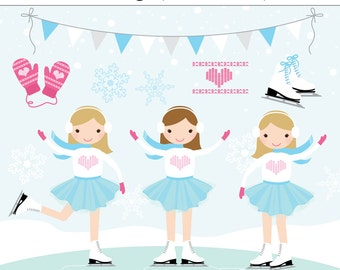 Ice Skating Party 12 Piece Digital Clip Art Set - Snow, Let it Snow, Invitation, Winter Wonderland, Girl Birthday Party, Ice Skates, Mittens