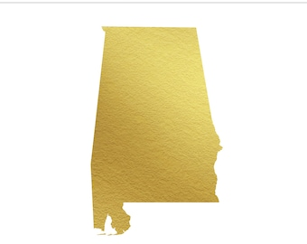 Alabama Gold Foil Clip Art State - Commercial Use, Wedding, United States, South, Heart of Dixie, Mobile, Birmigham, AL - INSTANT DOWNLOAD