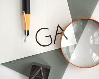 Modern Minimal Stationery - Custom Letterpress - Black and White Initials - Transatlantic