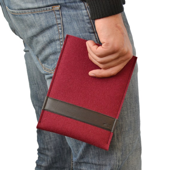 30% OFF Felt Ipad mini CASE, leather, iPad mini sleeve, wool felt, burgundy, handmade, made in Italy