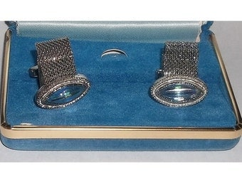 Vintage Cuff Links, Blue Prismatic Striped Marquise Shape