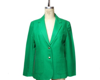 vintage 1980s green blazer / Career Guild / wool / St. Patrick's St. Paddy's / women's vintage jacket / size large
