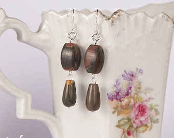 Earth tone stone earrings with dark green brown jasper gemstones, green and reddish brown with sterling silver, fashion earrings