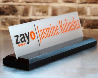 Desk Name Plate with Logo Graduation Gift Wood Sign Custom Gift 10 x 2.5