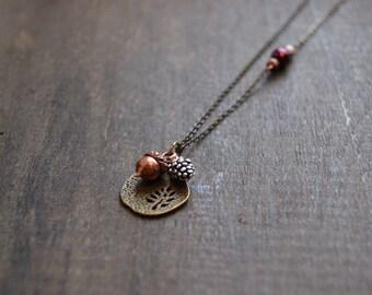 Pinecone Acorn Necklace Autumn Leaf Pendant Necklace Fall Leaf Necklace Mixed Metal Necklace Woodland Jewelry Autumn Jewelry Fall Jewelry