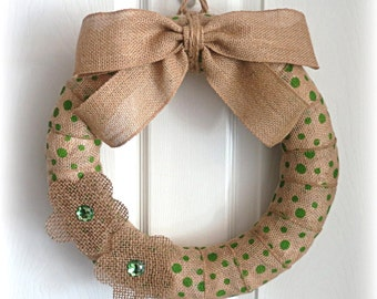 CLEARANCE - Spring Wreath - Summer Wreath - Polka Dot Burlap Wreath - 14-Inch Spring/Summer Burlap Wreath - Choose Your Color