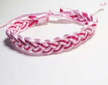 Classic Sailor Knots Bracelet, Light & Dark Pink Adjustable Bracelet, Hand Woven Bracelet. Super Cute Valentine's Day Gifts.