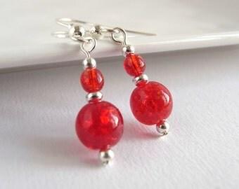 Red drop earrings, Red glass earrings, Small drop earrings, Red dangle, Silver earrings, UK seller