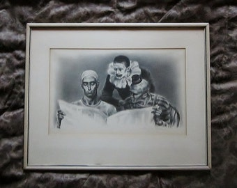 Vintage Art Clowns and the News 1942 A Limited Edition Signed Original Lithograph by Joseph Hirsch