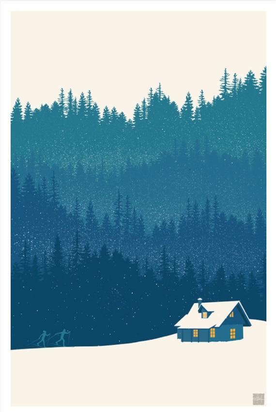 Retro minimalist nordic ski illustration landscape poster for Minimal art landscape