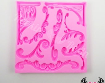 SCROLL SILICONE MOLD, Flourish Mold, Food Grade Mold, Flexible, Fondant Mold, Chocolate Mold, Candy Mold, Polymer Clay Mold, Resin Mold