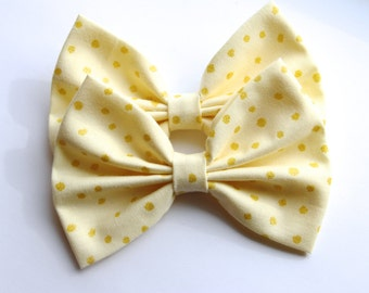 SALE - Reyna Hair Bow - Yellow Polkadot Glitter/Sparkles Pattern Hair Bow with Clip