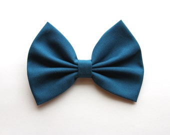 Quinn Hair Bow - Blue/Bluish-Gray Solid Color Hair Bow with Clip