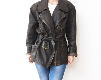 Vintage brown leather 90s oversized jacket / belt coat elaine